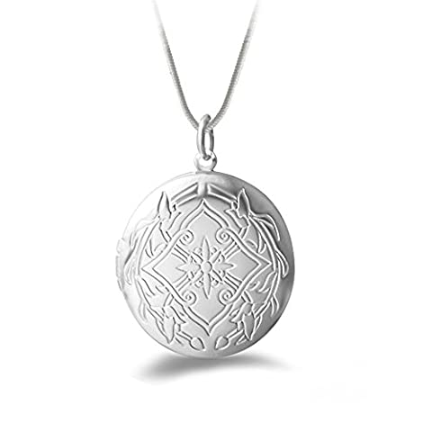 Winter's Secret Silver Plated Vintage Pattern Open Round Shape Pendant Locket Necklace with Snake (Butterfly Pond Kit)