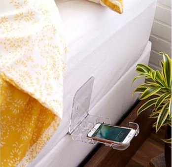 The Holding Cell - Universal Cell Phone Holder for your Home w/Built-in Charging Cord Holder (Clear Polycarbonate)