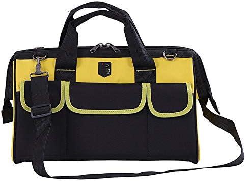 耐久性工具バッグ ヘビーデューティツールバッグツール収納袋主催ジップトップ耐性ラバーベースを着用してください 工具収納&仕分け管理&運搬用 (色 : 黄, Size : 17inch)