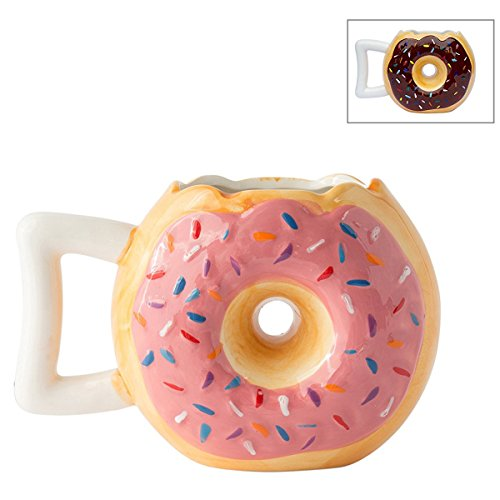 """Ceramic Donut Mug - Delicious Pink Glaze Doughnut with Sprinkles - Funny """"MMM... Donuts!"""" Quote - Best Cup For Coffee, Tea, Hot Chocolate and More - Large 14 oz"""