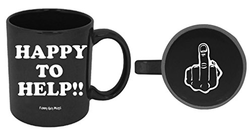 Funny Guy Mugs Happy To Help Ceramic Coffee Mug, Black, 11-Ounce (Mugs Office With The Faces)