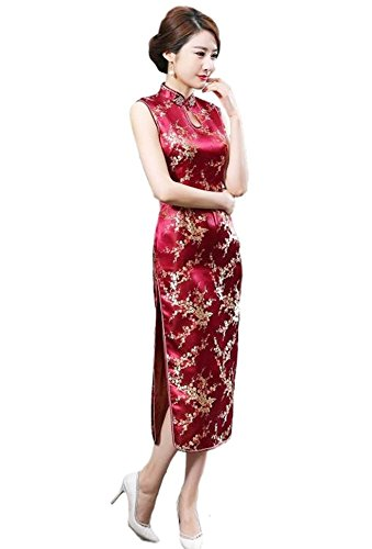 Maritchi Women's Long Chinese Wedding Dress Cheongsam Qipao Retro Long Flower Printing (12(ChineseXXXL), Wine-red)