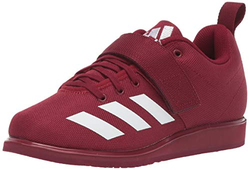adidas Men's Powerlift 4 Cross Trainer, White/Collegiate Burgundy, 8.5 M US (Best Sneakers For Weightlifting)