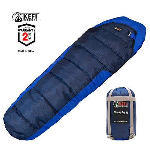 Kefi Outdoors Sleeping Bag – Mummy Style, Portable – Ideal for Camping, Hiking, Traveling, Backpacking, with Compression Sack, Temperature +6 °C to +15 °C, 925 g