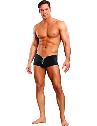 Mens Sexy Cool Spandex Boy Shorts with Zipper in Black, Large/X-Large by Male Underwear By Sunset