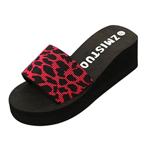 Ouneed Las Mujeres de Verano Zapatos Plataforma de Baño Zapatillas Cuña Playa Flops Zapatillas Rojo