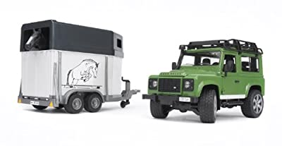 Bruder Toys Land Rover Defender Station Wagon With Horse Trailer And 1 Horse