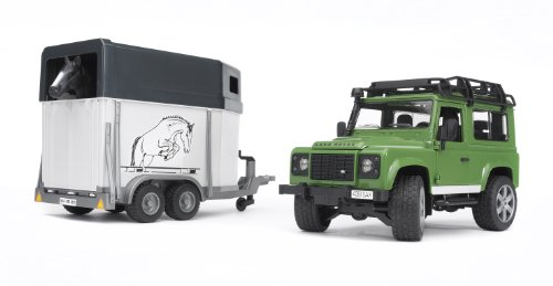 Bruder Toys Land Rover Defender Station Wagon With Horse Trailer And 1 Horse (Bruder Horse Trailer compare prices)