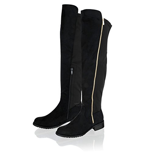 Womens Ladies Over Knee High Elasticated Stretch Block Heel Pull On Boots Size Black