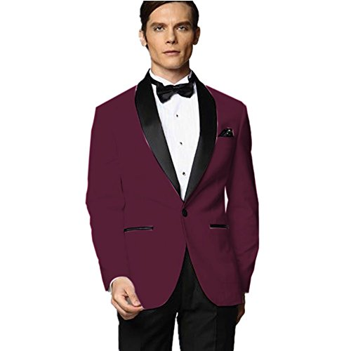 MYS Men's Custom Made Groomsman Tuxedo Burgundy Suit Black Pants ...