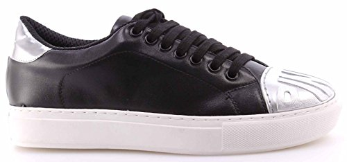 PINKO Chaussures Femme Sneakers Shine Baby Ametista 1 Nero Argento Cuir Noir New