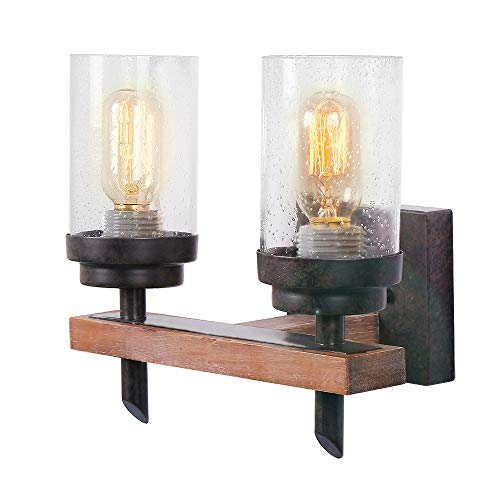 Eumyviv Rustic Wood Wall Sconce with Seeded Glass Shade, Industrial Hardwire Wall Light Vintage Bathroom Lamp Log Cabin Home Retro Sconce Light Fixtures 2-Light, Brown (17805)