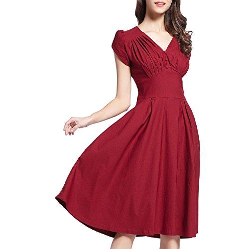 Shengdilu Women's Retro 1950'S V Neck Rockabilly Prom Swing Party Dress XL Purple Red