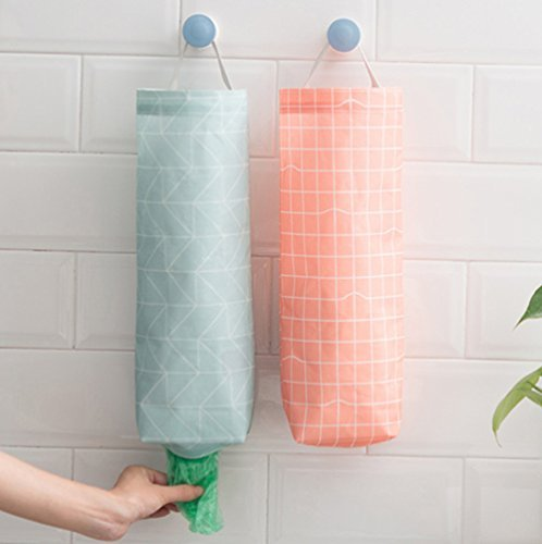 Hihelp Set of 2 Plastic Bag Holder Waterproof Wall Mount Grocery Bag Dispenser Garbage Bag Organizer with Easy Access Top and Bottom Openings for Home Office Kitchen