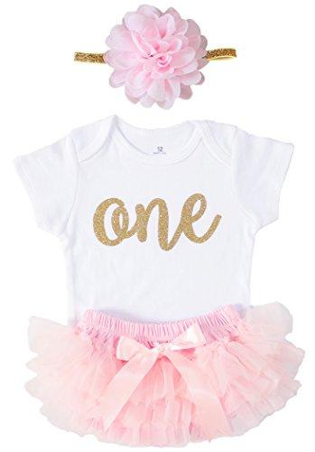c2cb7bbbc13f OoSweetCharlotteoO 3PCS One Gold Glitter Baby Girls  1st Birthday ...