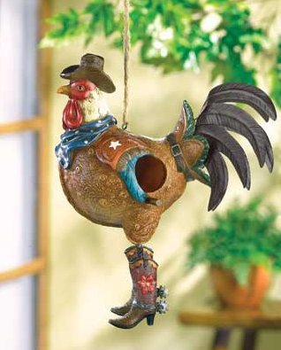 MD-group Birdhouse-Western Theme Rooster dressed plump amusing swinging dance shelter slightest feathered METAL POLYRESIN 10.2