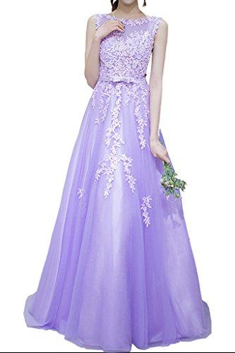 Promgirl House Damen Romantisch Spitze Rundkragen A-Linie Abendkleider Ballkleider Hochzeitsparty Lang