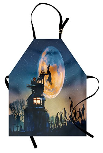 Ambesonne Fantasy World Apron, Dead Queen in Castle Zombies in Cemetery Love Affair Bridal Halloween Theme, Unisex Kitchen Bib Apron with Adjustable Neck for Cooking Baking Gardening, Blue Yellow