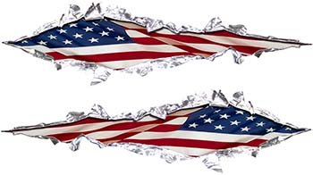Metal Patriotic (Ripped Torn Metal Graphic Decal with USA Patriotic American Flag)