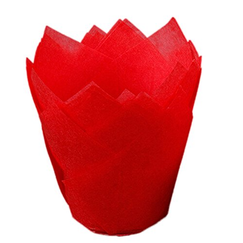 Gessppo 50pcs/Set Cake Cup Tulip Chocolate Liners Muffin Biscuit Cupcake Baking DIY Tool Accessory (Red) ()