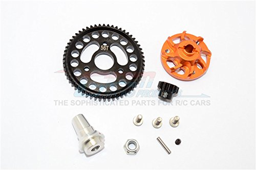 (Traxxas Slash 4x4 Low-CG Version Upgrade Parts Aluminum Gear Adapter With Steel 32 Pitch 56T Spur Gear & 13T Motor Gear - 1 Set Orange)