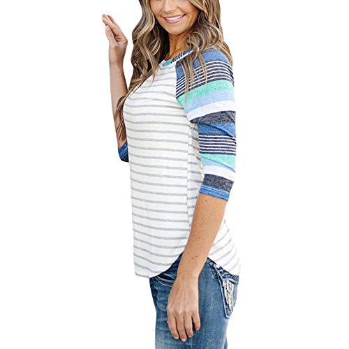 Clair Manche 3 Rond Blouse Uranus Bleu Raglan Shirt Top Col Casual Lache Patchwork 4 Femme T ZCnqg