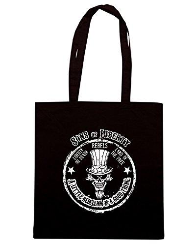 T-Shirtshock - Bolsa para la compra TM0610 a little rebellion is a good thing Negro