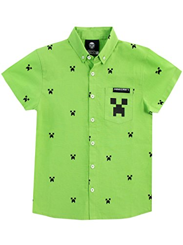Minecraft Boys' Creeper Button Down Shirt Size 7 Green -