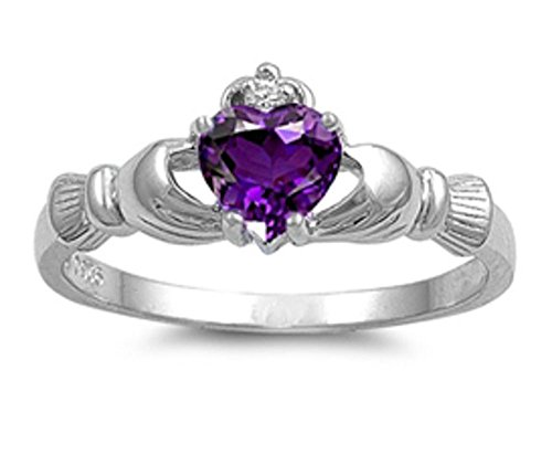 Irish Claddagh Simulated Amethyst Heart Ring Size 6