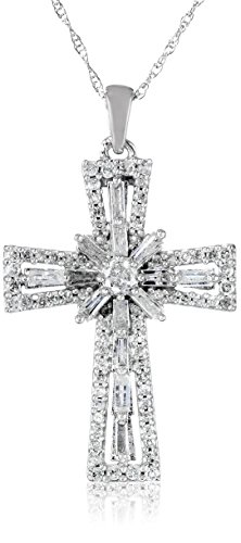 White Diamond Cross Pendant Necklace