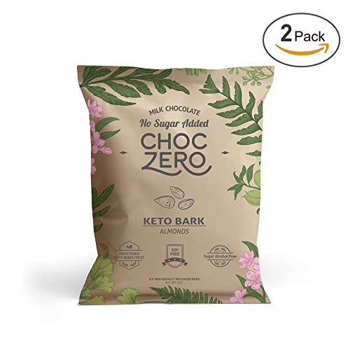 , Milk Chocolate Almonds, 100% Stone-Ground, No Added Sugar, Low Carb, No Sugar Alcohols, Non-GMO (2 bags, 6 servings each) ()
