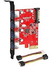 Inateck USB 3.0 pcie kaart met 4 poorten, een 15-pins SATA-stroomaansluiting met een 4-pins naar 2 x 15-pins kabel en een SATA stroom-Y-kabel
