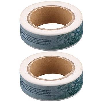 Peixe Carta DealMux impressão Embrulhos DIY Craft Etiqueta Masking Washi 2pcs comprimento da fita rolo 10M