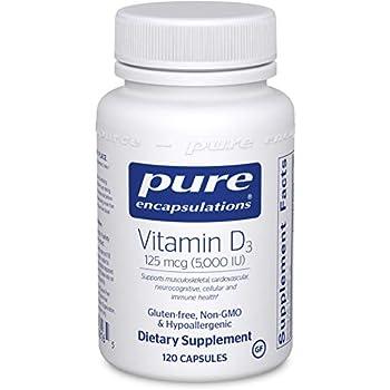 Pure Encapsulations - Vitamin D3 5,000 IU - Hypoallergenic Support for Bone, Breast, Prostate, Cardiovascular, Colon and Immune Health* - 120 Capsules