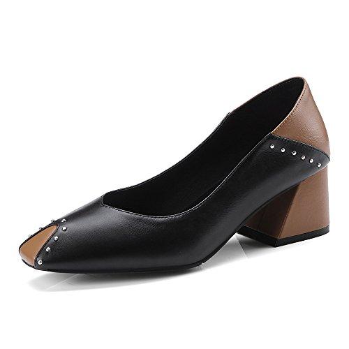 Negen Zeven Echte Dames Vierkante Teen Dikke Hak Two Tone Handgemaakte Trendy Dressy Pumps Schoenen Zwart