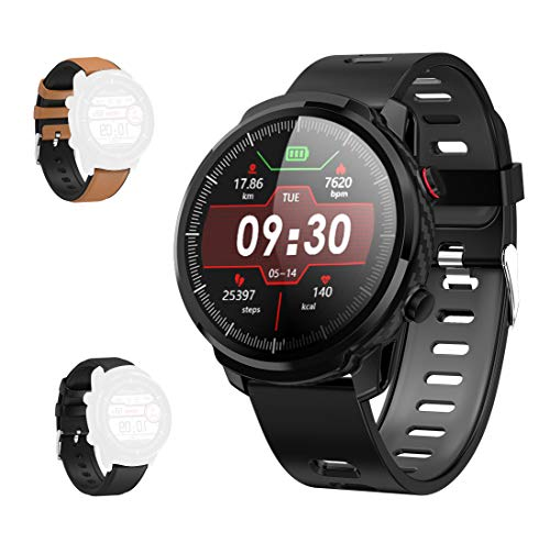 GideaTech Smart Watch with Full Touchscreen and Display of Round Dial, 2019 Version IP67 Waterproof,Fitness Tracker Watch with Pedometer Heart Rate Blood Pressure Monitor Sleep Tracker,Black (Best Fitness Tracker On The Market 2019)