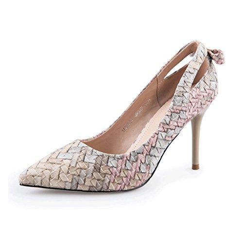 Autumn Weaving High Heels Fine Fine Sandals Elegant Ladies Shoes (Color : Gray, Size : 39)