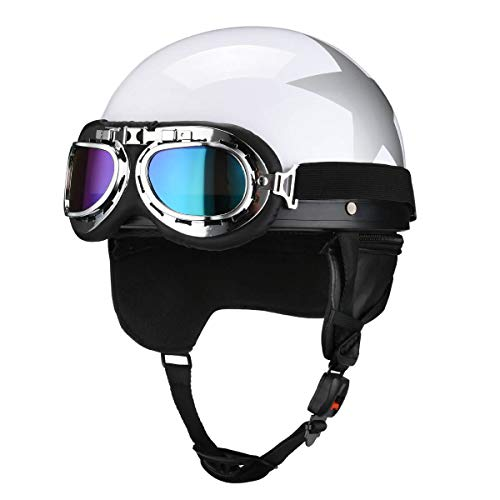 Fatmingo German Style Half Helmet with Goggles for Motorcycle Biker Cruiser Scooter Harley Helmet