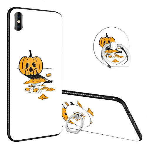 iPhone XR Case,Pumpkin Carving Contest iPhone XR Tempered Glass Back Cases with Finger Ring Stand for Girl/Boys, 360°Rotatable Ring Holder Kickstand Fashoin Soft TPU Case for iPhone XR -
