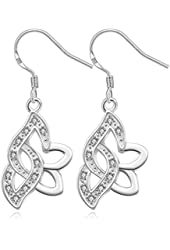 Elegant Fashion Jewelry 925 Silver Plated Stud Dangle Earings Eardrop Skeleton Big Leaf