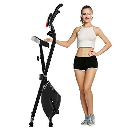 Folding Adjustable Magnetic Upright Exercise Bike with Hand Pulse Sensors/LCD Screen for Home Office Workout Indoor Cycling (US STOCK) (Black)
