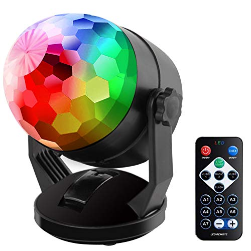 (Sound Activated Party Lights with Remote Control, Battery Powered/USB Portable RBG Disco Ball Light, Dj Lighting, Strobe Lamp 7 Modes Stage Par Light for Home Room Dance Parties Birthday Karaoke)
