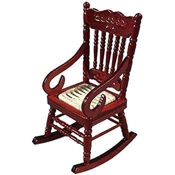 Astounding Amazon Com Ktyssp Miniature Rocking Chair For 1 12 Theyellowbook Wood Chair Design Ideas Theyellowbookinfo