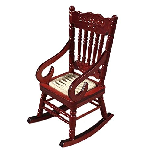 Joykith Miniature Realistic Rocking Chair for 1:12 Dollhouse Wooden Furniture Model Set DIY House Craft Kits Creative Accessory Home Decoration