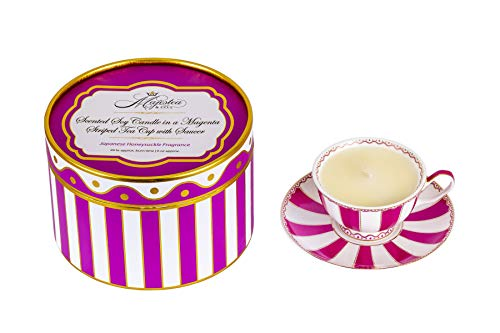 Scented Soy Candle in a Magenta Striped Tea Cup with Saucer, Tea Cup, Candle, Candles, Tea cups and saucers sets, Tea Cups, Tea Set, Scented Candle, Gift Idea, Women Gift Idea, Present, Christmas