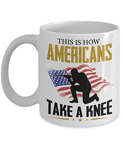 Kiwi Styles US Veteran Coffee Ceramic Mug Cup - This is How Americans Take A Knee | Best Veteran's Day, Coast Guard Day Gift For Veteran, Grandpa, Dad - 11 Oz, White