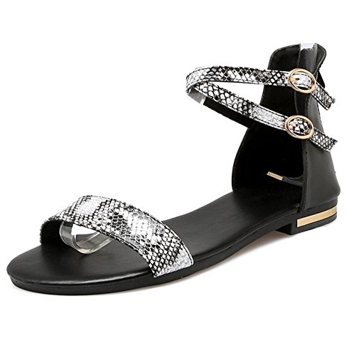 COOLCEPT Damen Mode-Event Knochelriemchen Sandalen Open Toe Animal Print Shoes Schwarz