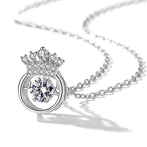Gexo Solid Crown Pendant Necklace with Rotatable Cubic Zirconia Heart for Women Girl