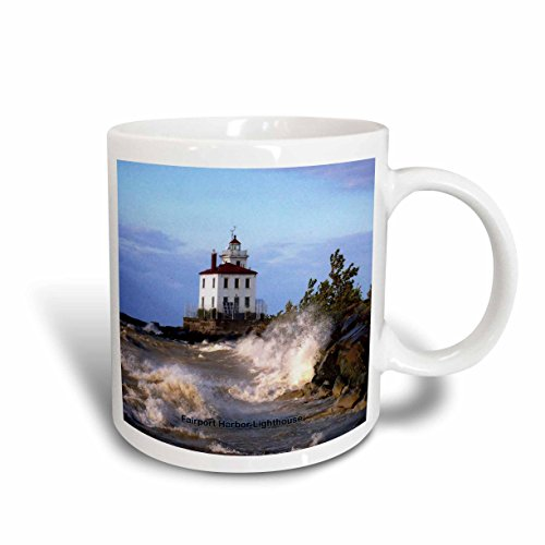 3D Rose 61705_5 Fairport Harbor Lighthouse Looking Over Lake Erie Two Tone Ceramic Mug Red ()