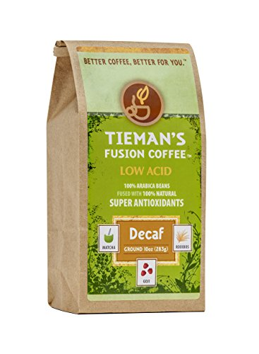 Tieman's Fusion Coffee, Low Acid Decaf, Semi-Dark Roast (Ground) 10-Ounce bag